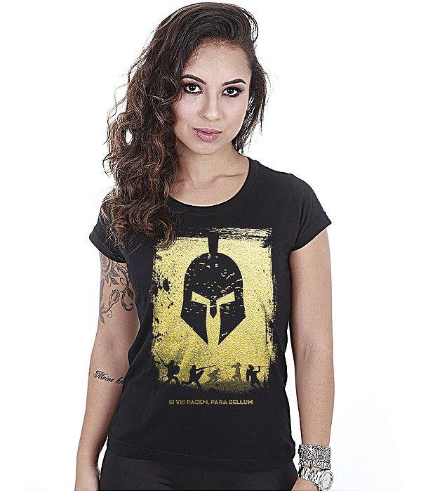 Camiseta Militar Baby Look Feminina Si Vis Pacem Para Bellum Gold Line