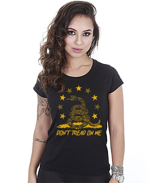 Camiseta Militar Baby Look Feminina Don't Tread On Me Snake
