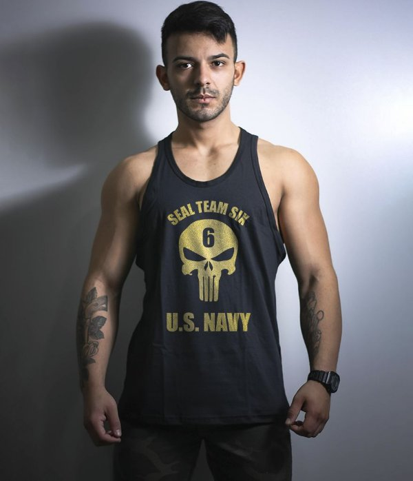 Camiseta Regata Militar Punisher Seal Team Gold Line