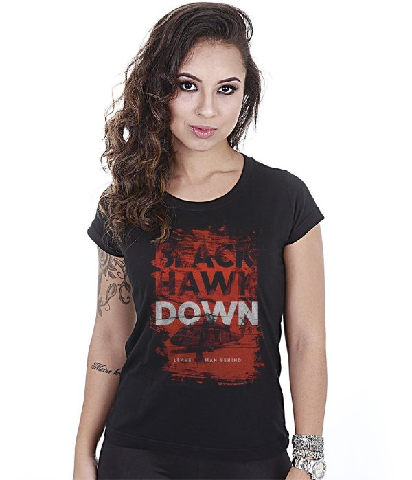 Camiseta Militar Baby Look Feminina Black Hawk Down