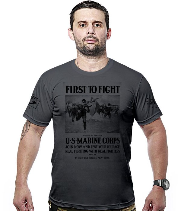 Camiseta Militar Marine Corps First To Fight Hurricane Line