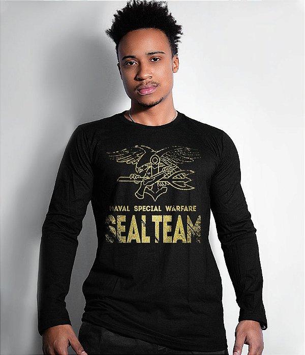 Camiseta Manga Longa Seal Team Navy Seal Gold Line