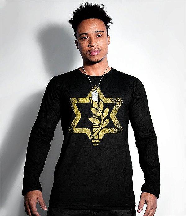 Camiseta Manga Longa Israel Defense Gold Line