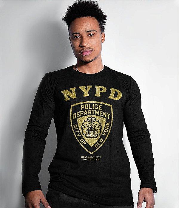 Camiseta Manga Longa Police Department NYPD Gold Line