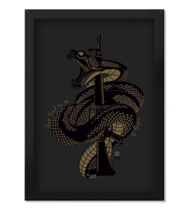 Poster com Moldura GUFZ6 Don't Tread On Me Snake