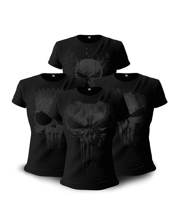 Kit 04 Camisetas Baby Look Feminina Dark Line justiceiro à Paisana