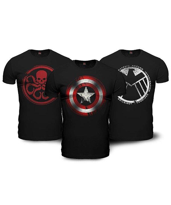 Kit 03 Camisetas Avengers