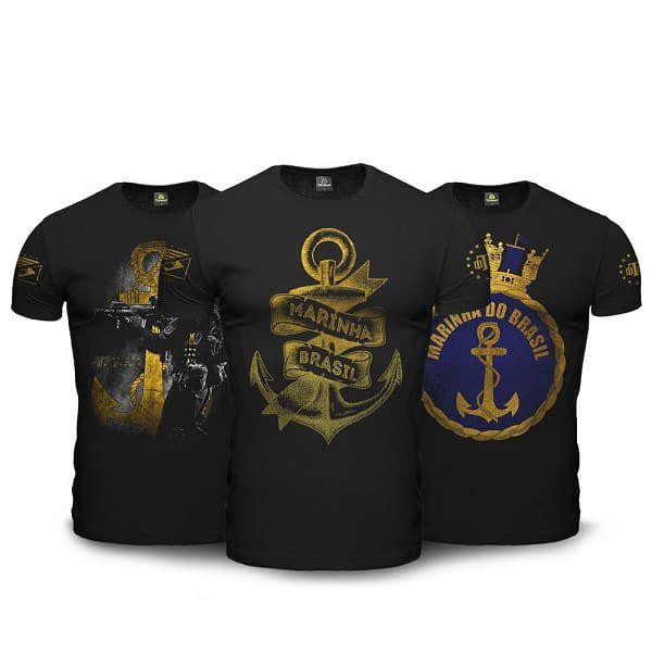 Kit 03 Camisetas Militares Marinha Tactical