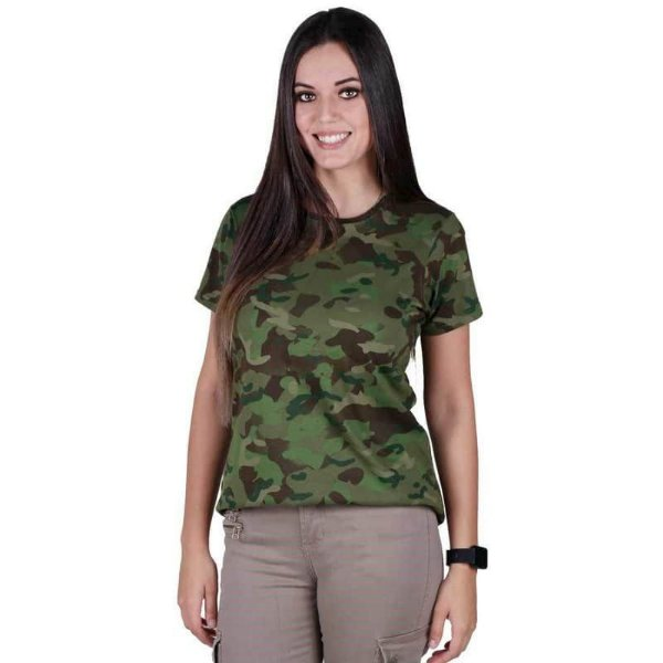 Camiseta Feminina Bélica Soldier Camuflada Tropic Manga Curta