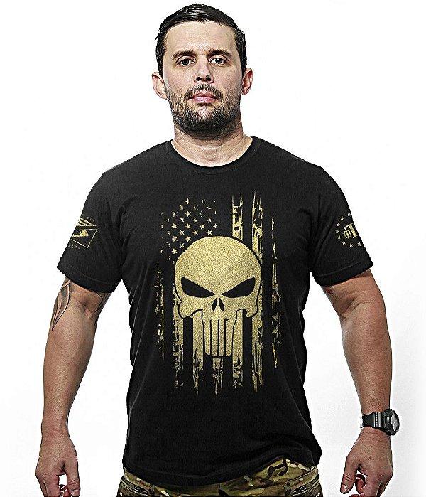 Camiseta Militar EUA Punisher Gold Line