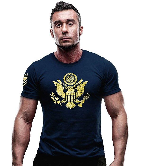 Camiseta Militar Eua Justice United States Gold Line