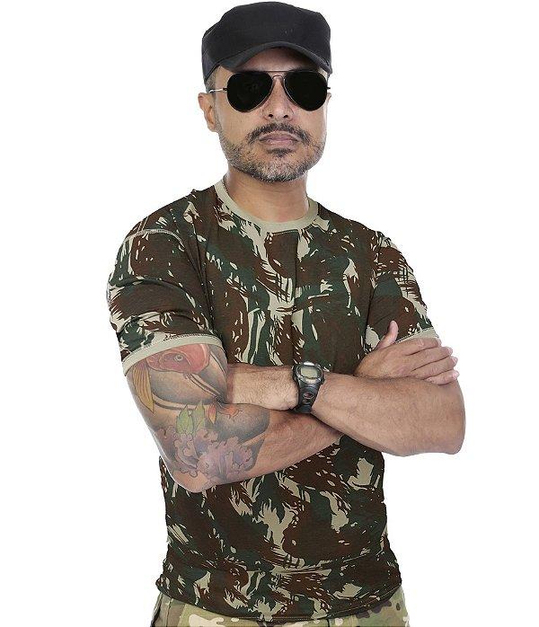 Camiseta Militar Camuflada Verde Reforçada 100% Algodão