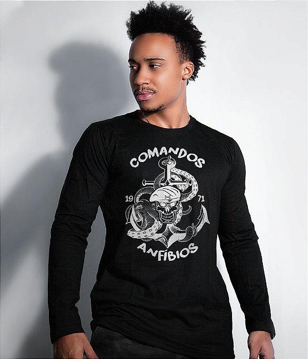 Camiseta Manga Longa Comandos Anfibios