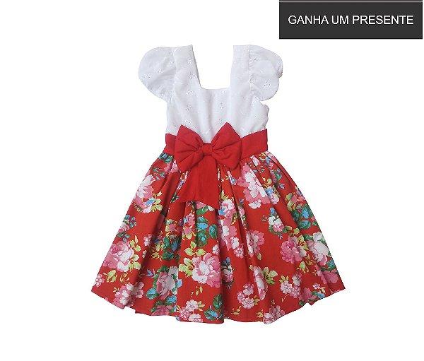 Vestido de Laço Vermelho Florido