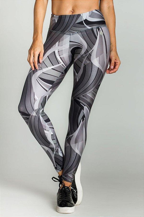 Calça Legging Em Trilobal Estampada Gray Line Bro Fitwear