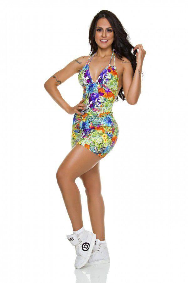 Macaquinho Vestido Fitness Waimea Floral Dunas Bodypower