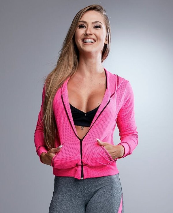 JAQUETA DRY FIT PINK FLÚOR LET'S GYM