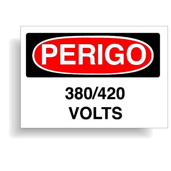 Perigo 380 / 420 volts com opção em vinil adesivo ou placa