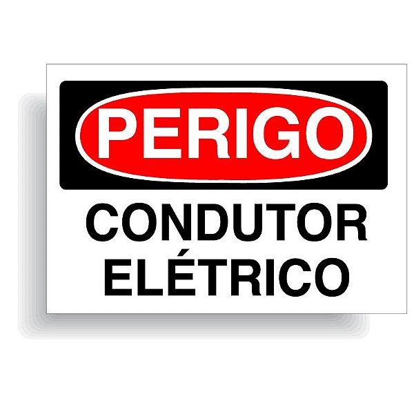 Perigo condutor elétrico com opção em vinil adesivo ou placa