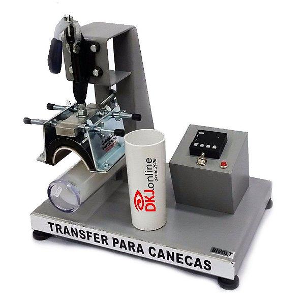 Prensa cilíndrica térmica transfer para canecas de acrílico e plástico