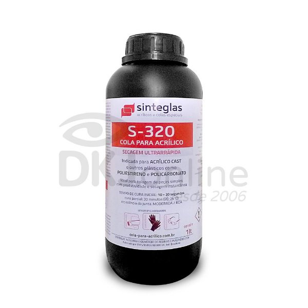 S-320 cola para acrílico cast de secagem ultra rápida 1 litro Sinteglas