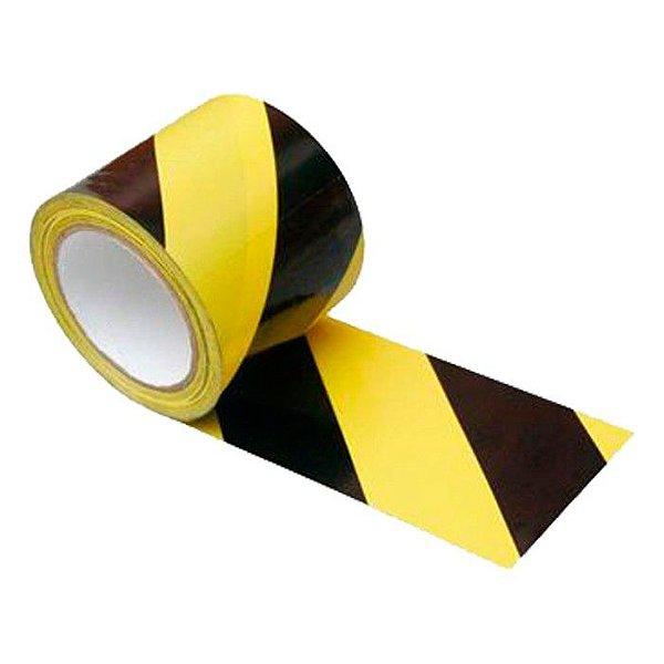Fita zebrada preto e amarelo 70 mm x 180 mt para demarcação de área
