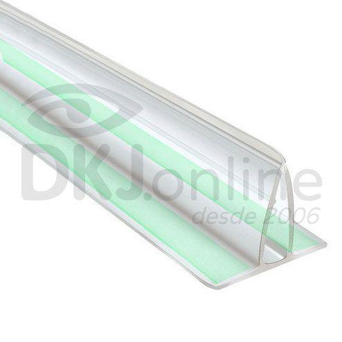 Perfil fixa placa em pvc transparente 2 metros com fita dupla face flex
