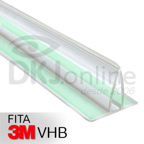 Perfil plástico fixa placa em pvc transparente 2 metros com dupla face 3M VHB