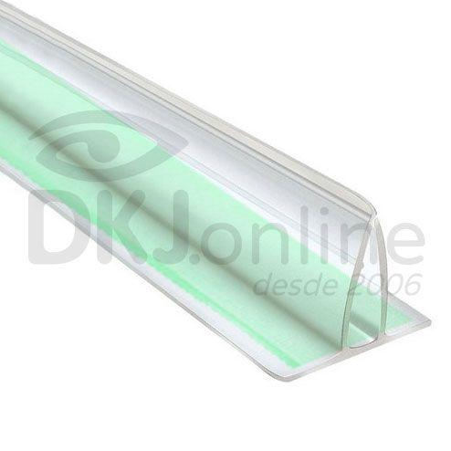Perfil fixa placa em pvc transparente 2 metros com fita dupla face 19 mm
