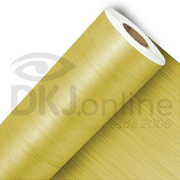 Vinil adesivo texturizado aço escovado ouro 50 cm de largura - Aplike
