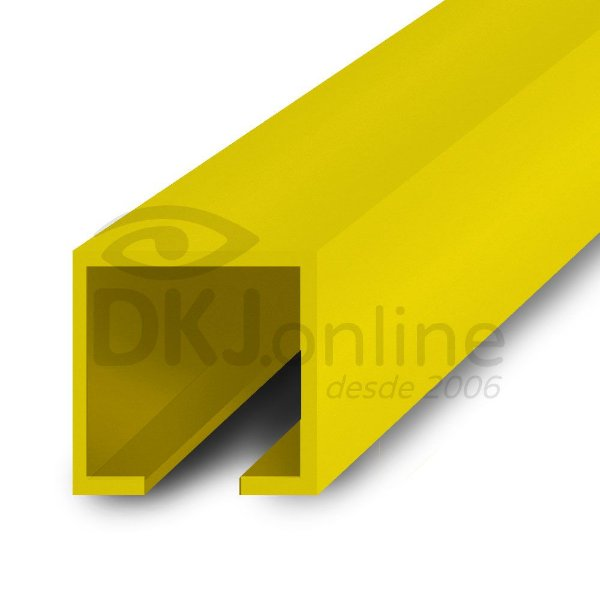 Perfil plástico trilho 12x12 mm abertura de 2 mm em PS (poliestireno) amarelo barra 3 metros