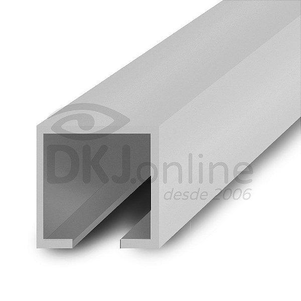 Perfil plástico trilho 12x12 mm abertura de 2 mm em PS (poliestireno) branco barra 3 metros