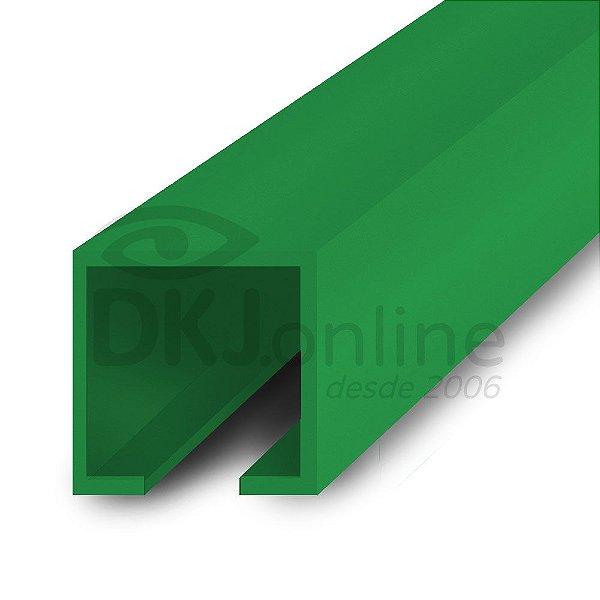 Perfil plástico trilho 12x12 mm abertura de 2 mm em PS (poliestireno) verde barra 3 metros