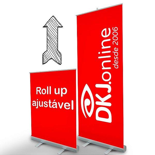 Roll up - porta banner de alto padrão em alumínio ajustável 80 x 130 a 200 cm