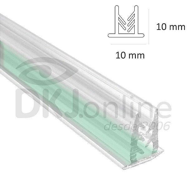Perfil fixa placa traquitana em pvc transparente 2 metros com fita dupla face flex