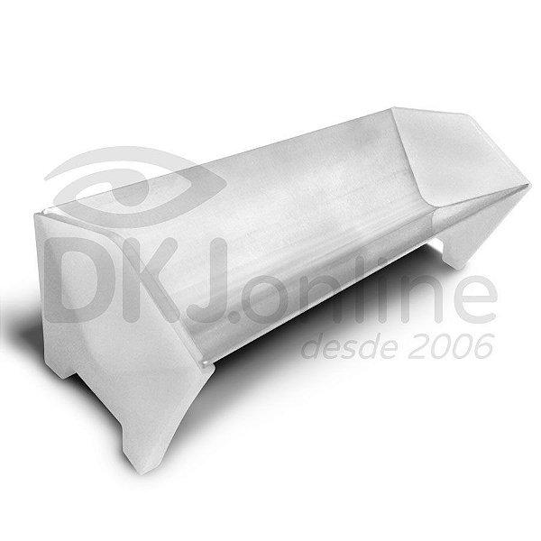 Calha 65 cm de alumínio com lateral para aplicar emulsão em matriz serigráfica