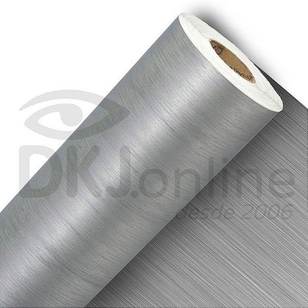 Vinil adesivo texturizado aço escovado prata 100 cm de largura - Aplike