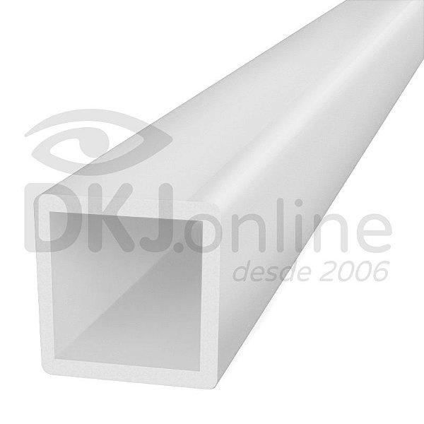 Perfil tubo quadrado em PS branco 25x25 mm barra com 2 metros parede de 1 mm