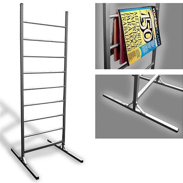 Porta revista / catálogos em alumínio com 8 locais de inserção