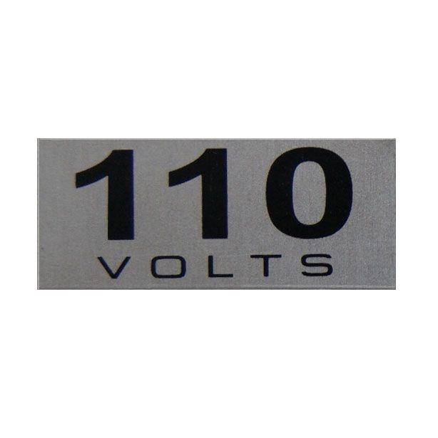 Etiqueta de voltagem em alumínio 110 volts cartela com 16 etiquetas de 1,5 x 3,5 cm