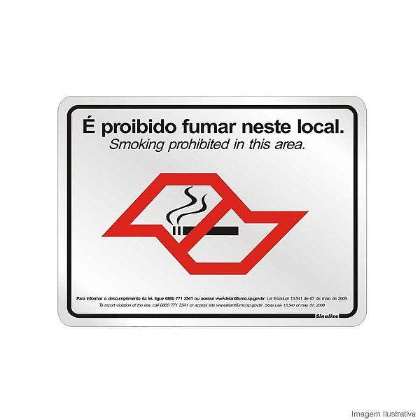 Placa em alumínio 20 x 25 cm Proibido fumar Lei nº 13.541 SP