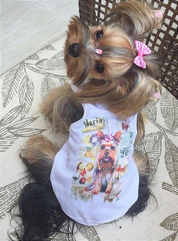Camiseta para cachorro yorkshire com laço