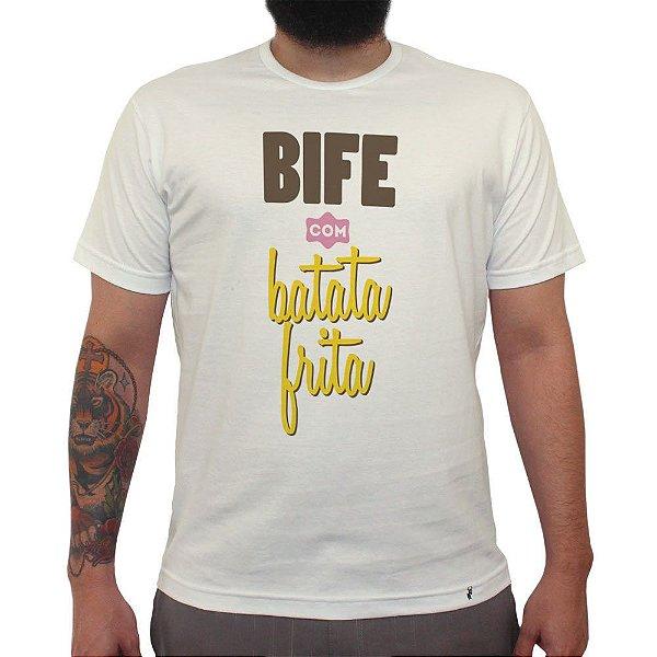 Bife com Batata Frita - Camiseta Clássica Masculina