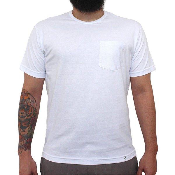 Camiseta Clássica com Bolso Masculina Lisa Branca