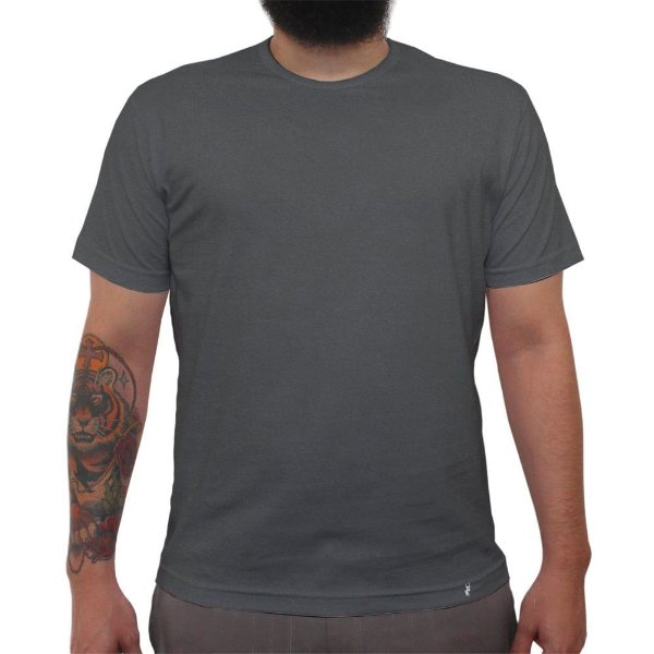 Camiseta Clássica Premium Masculina Lisa Preta Estonada