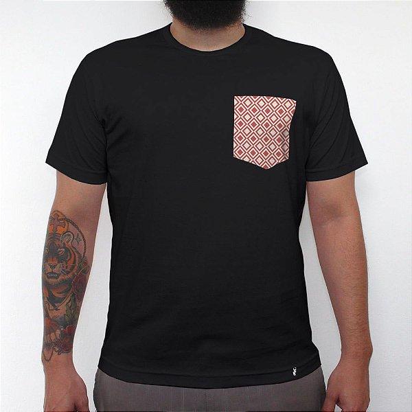 Coral - Camiseta Clássica com Bolso Masculina