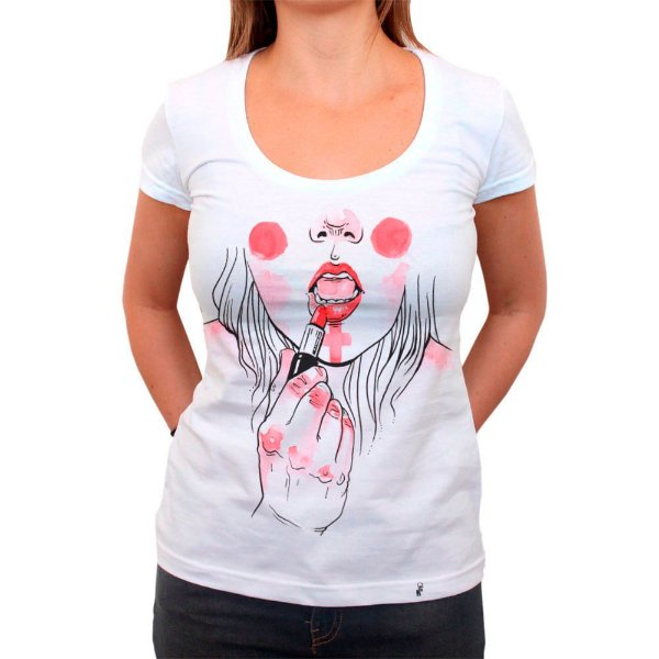 Maquiagem de Guerra - Camiseta Clássica Feminina