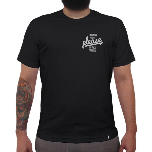 Morning People Please - Camiseta Clássica Masculina