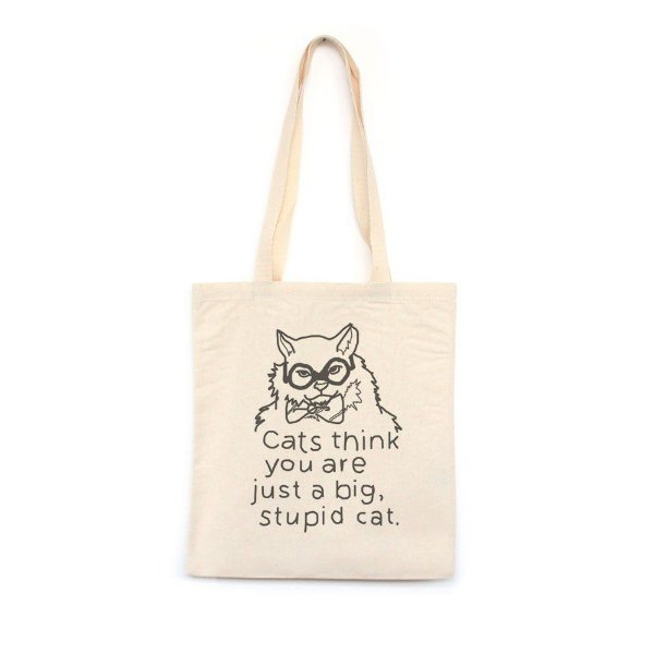 Stupid Cat - Bolsa de Lona-Off White-U