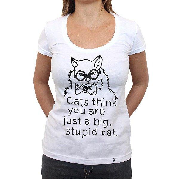 Stupid Cat - Camiseta Clássica Feminina